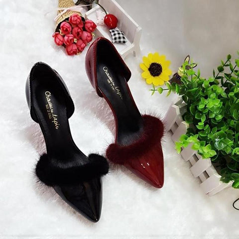 2018 Women Dress Wedding Shoes Pumps Leather Ankle Strap Wine Red Fur