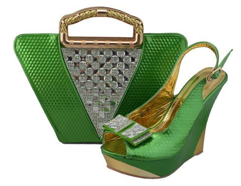 Green Color  Shoe and Bag Set for Party In Women Wedding Shoes