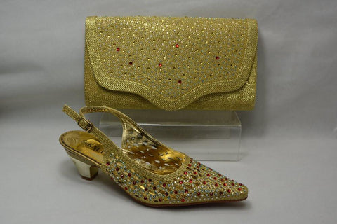 High Class Wedding Shoes And Bag Set in gold