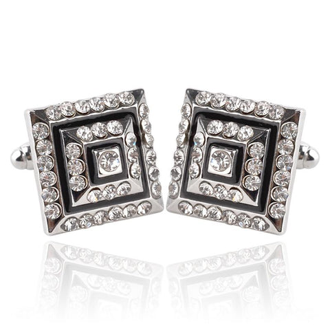 Exquisite Luxury Silver Rhinestone Cuff-links Men's