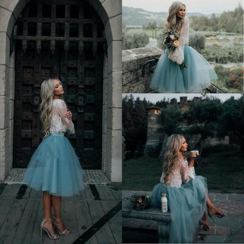 2018 Cheap White and Mint Lace Short Two Pieces Prom Dress (Buy Only)