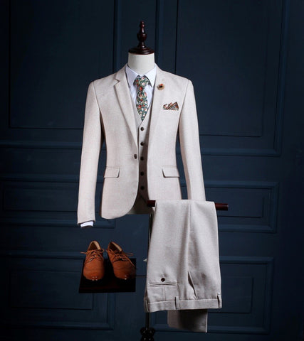 High Quality Tuxedos Mens Suits For Wedding Trim  (Jacket+Pants+Vest) formal suits