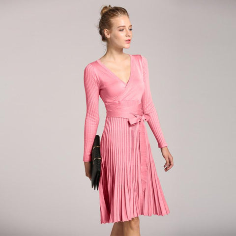 2018 New Spring V-neck Knitting Dress Ladies Pleated Sweater Bandage Dresses
