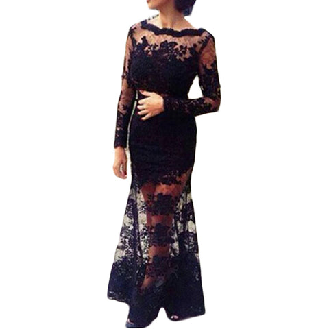 Backless Long Sleeve Floral Crochet Mesh Sheer Formal Prom Ball Gown