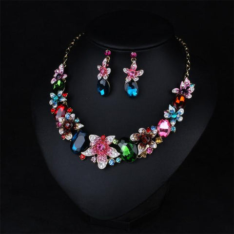 Crystal Rhinestone Flower Water Drop Jewelry Set Statement Chunky Choker Necklace Earring
