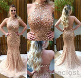 2018 Luxury Champagne Mermaid Prom Dresses Long