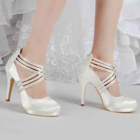 Ivory Rhinestones Platforms Pumps Zip Strap Satin Wedding Bridal Party Shoes