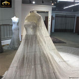 Luxurious Full Crystal Beaded Newest Ball Gown Wedding Dress 2018