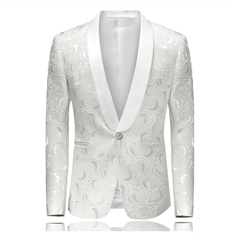 2018 Spring New Arrival Men's Floral Casual Suit White Printed Wedding Blazer Slim Fit Men's Jacket Asian Size