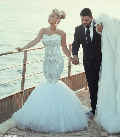 Lace Beaded Sweetheart Mermaid Wedding Dresses 2017