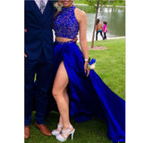 Unique Two pieces Prom Dresses 2017 Sexy Royal blue
