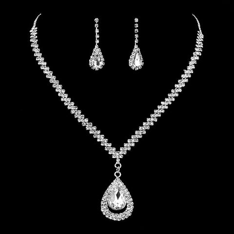 Lealux Cluster Crystal Jewelry Sets Parure Silver-color Necklaces
