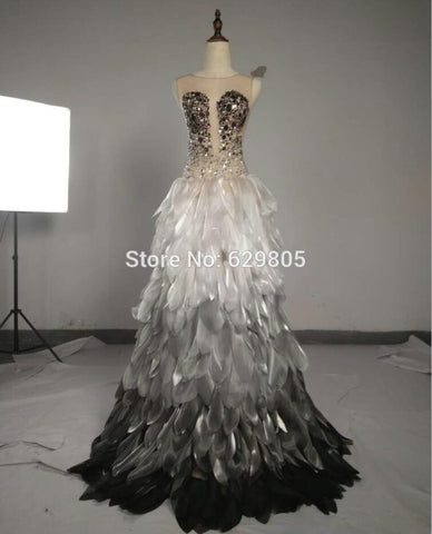 2018 New  Glisten Celebrate Long Dress Feather One Piece Costume Rhinestone Dresses