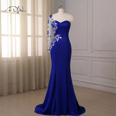 Royal Blue Mermaid Evening Dresses One Long Sleeve Sweep Train Applique Crystals