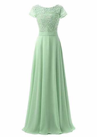 Bridesmaid Dresses Long 2018 Chiffon with Lace Appliqued Cap Sleeves Bridesmaids Gowns Wedding