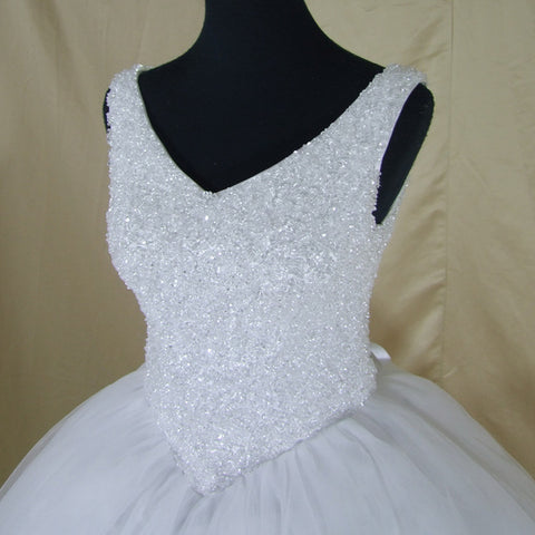 Luxury Crystals White Ball Gown Wedding Dress Custom Made