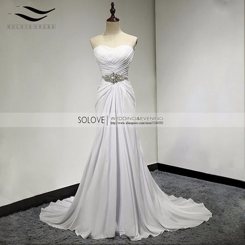 A Line Chiffon Beach Wedding Dress Vintage