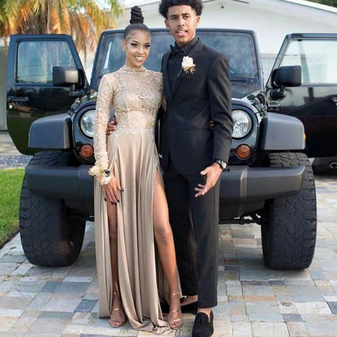 2018 Champagne Long Sleeves Lace Prom Dresses Arabia (Rental $280)