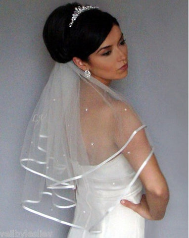 Free shipping White/Ivory Wedding Veil Bridal  Ruffles Two Layer comb high quality Cheap Hot sale
