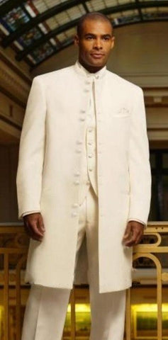 Fashionable Long Ivory Men's Wedding Prom Suits Custom Made (Jacket+Pants+Vest+Tie)