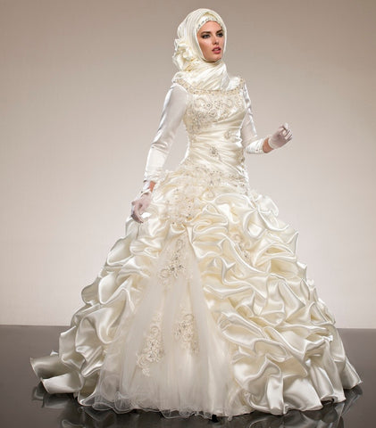 Long Sleeves Muslim Wedding Dresses Ball Gowns Ruffles Crystal Beading Draped
