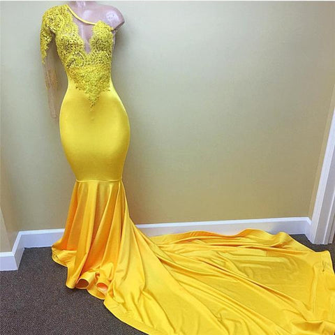 2018 Sexy One Shoulder Long Sleeve Yellow Mermaid