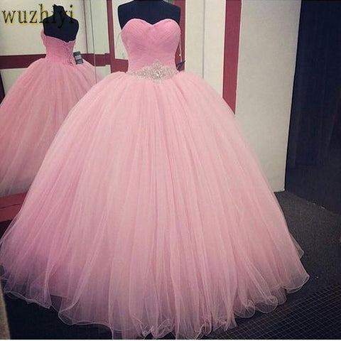 Pink Ball Gown Dress 2018 Beaded