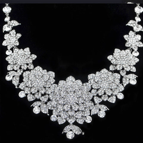 Bridal Crystal Rhinestone Wedding necklace and earring sets