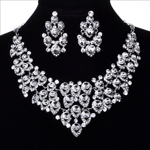 Bridal Crystal Rhinestone Wedding Necklace and Clip earring Sets J