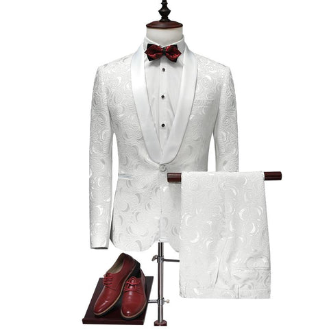 2018 Men's White Wedding Tuxedos Suits Slim Fit Printed Suits Brand Clothing Blazer+ Pants