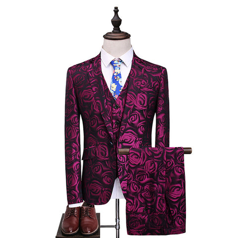Luxury Flower Men's Suits Wedding 2018 New Banquet Stage Rose purple male Party Prom Suits Plus Size S-5XL