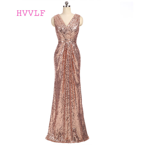 Champagne 2018 Mermaid Deep V-neck Floor Length Sequins