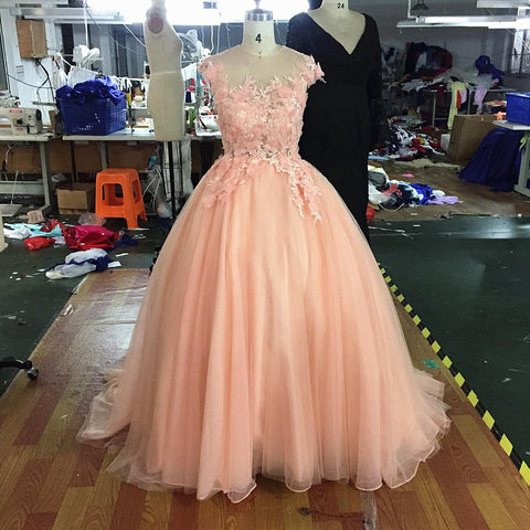 2017 3D Blush Flower Evening Party Dresses A Line Ball Gown Prom Dresses (Rental  $380)
