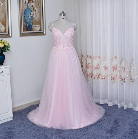 Spaghetti Straps Embroider Lace with Pearls Beading A-line Pink Prom Dress Plus Size