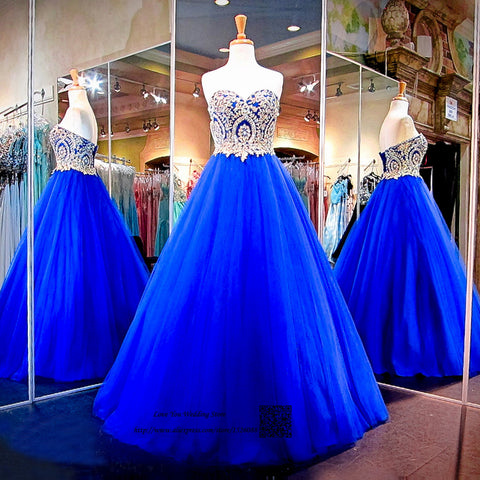 Modest Royal Blue Gold Lace Dresses Ball Gown Plus Size Prom Dress 2018