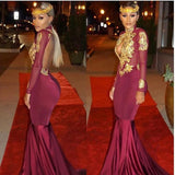 2018 Full Sexy Burgundy Mermaid Long Sleeves Prom Dresses (Rent 310)