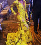 Yellow Evening Dresses Appliques Long Sleeved Dress