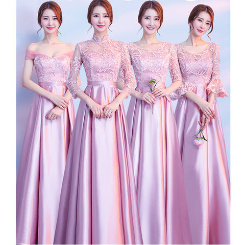 New Satin Bridesmaid Dresses Pink Lace Half Sleeve Sexy Sweetheart