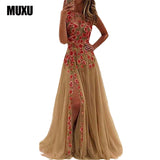 MUXU embroidery floral mesh  dress backless sexy party womens clothing club beautiful cheap dresses elegant embroidered dress