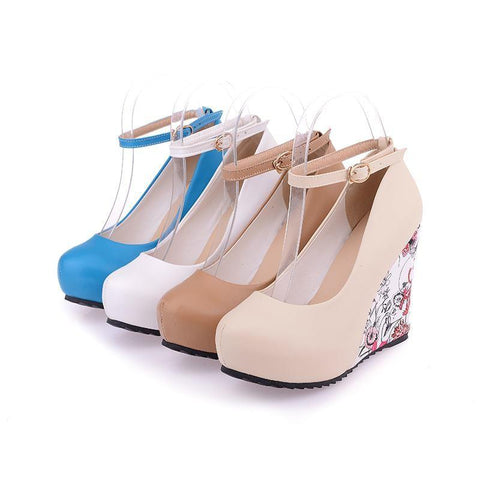 Fashion Ankle Strap Women Casual Elegant Flower Print Wedges Platform Shoes