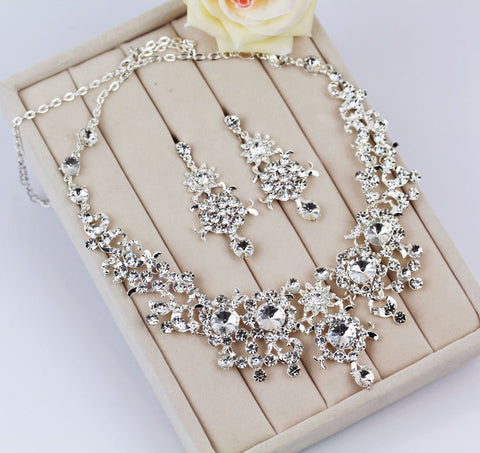 Crystal Necklace Sets Rhinestone Wedding Accessory Bridal Jewelry