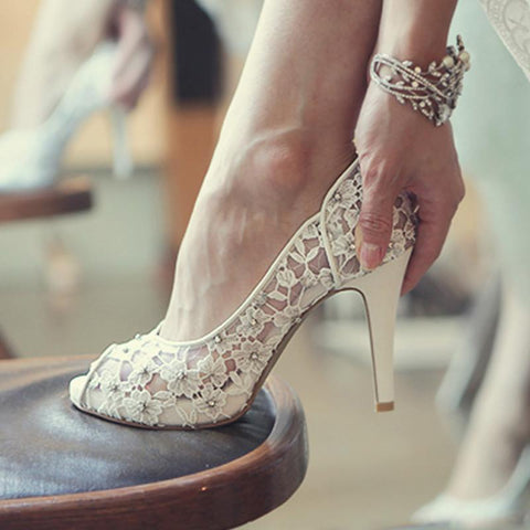 Bling Bling Flowers Wedding Shoes Pretty Stunning Heeled Bridal Dress