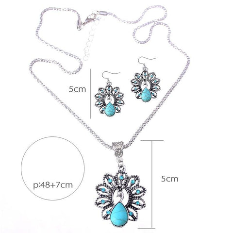 Free Shipping Peacock Turquoise Pendant Necklace Earrings Suit