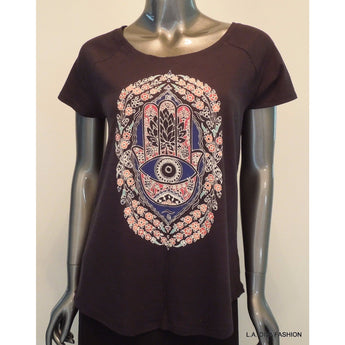 LUCKY BRAND Womens Hamsa India Tee T-Shirt Black Scoop Neck Short Sleeve Small