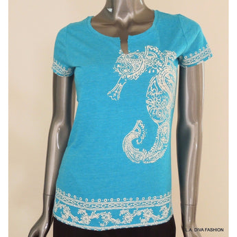 LUCKY BRAND Womens Teal Split Neck Seahorse Print Tee T-Shirt Short Sleeve Small