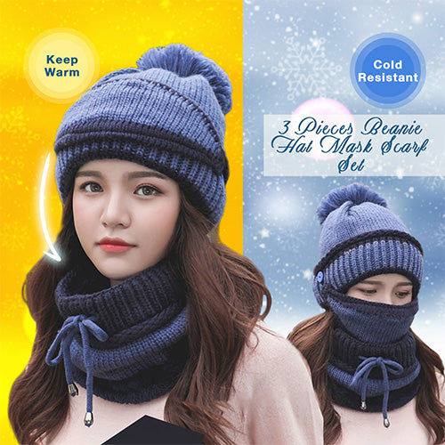 2019 Korean 3PCS Women Winter Beanie Set