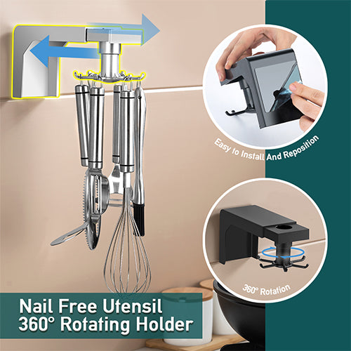Nail-Free 360° Rotating Kitchen Cooking Utensil Holder