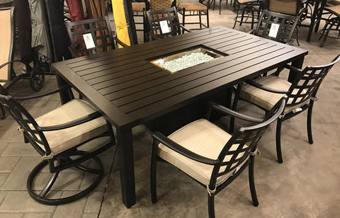 ... Stratford Aluminum Outdoor Fire Pit Dining Set ...
