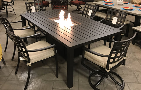 Stratford Aluminum Outdoor Fire Pit Dining Set