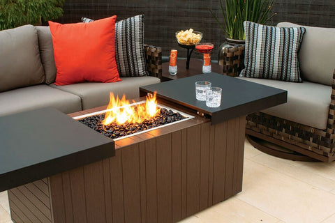 gas firepits for sale, nevis firepit, plank and hide, outdoor gas fire pit, firepit table combo